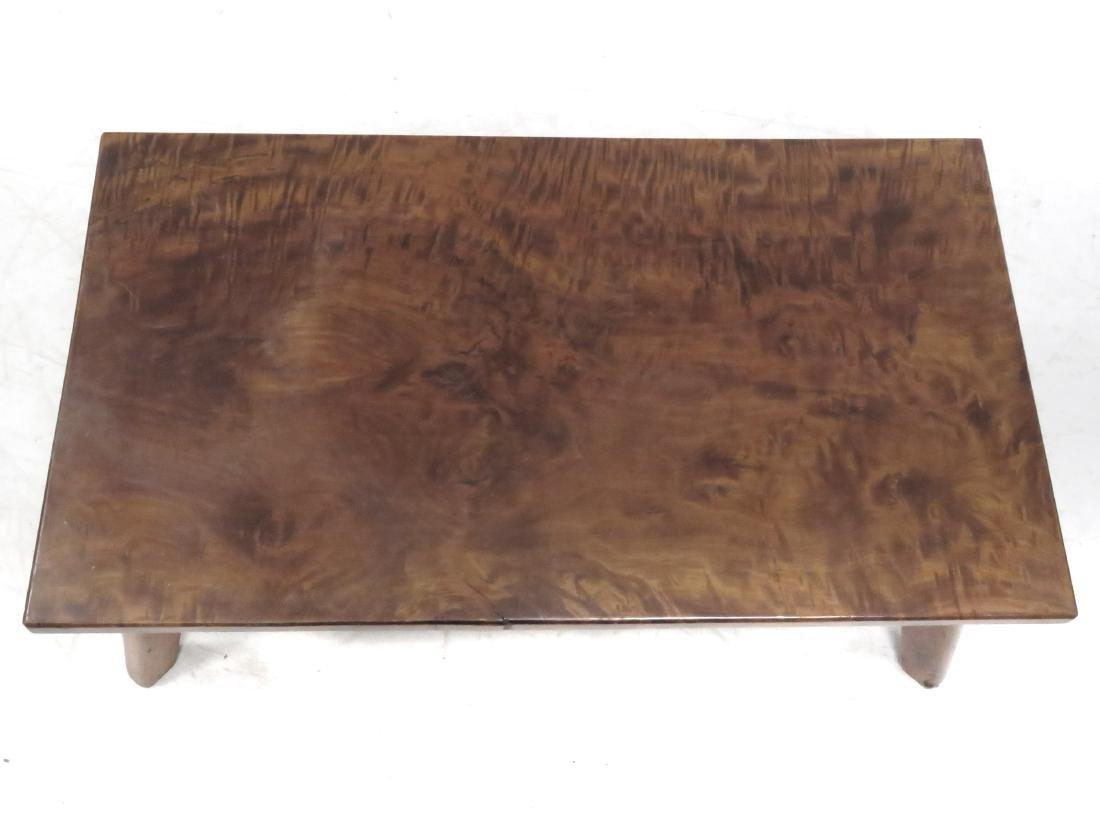 CRAFTSMAN MADE BURL MAHOGANY LOW TABLE, C.1930. HEIGHT - 3