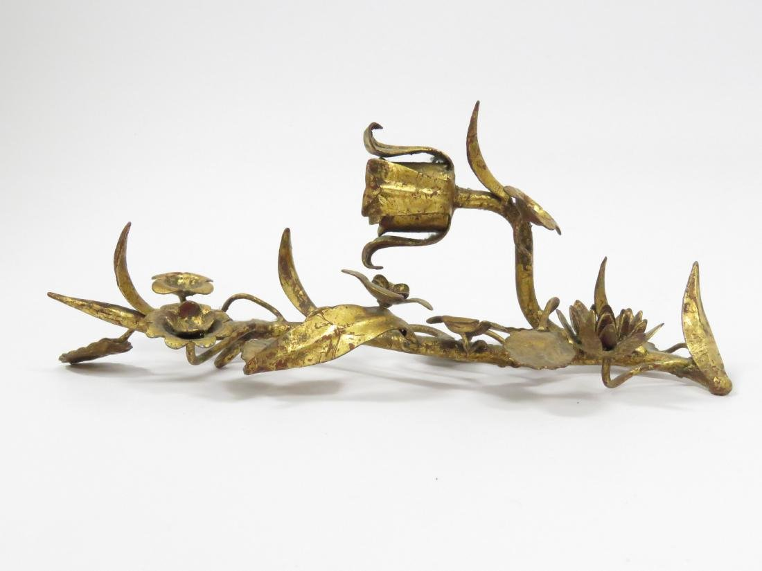 """LOT (3) CONTINENTAL GILT IRON SCONCES. HEIGHT 15"""" - 4"""