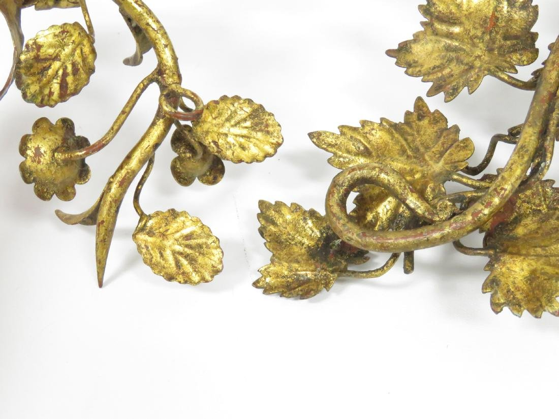 """LOT (3) CONTINENTAL GILT IRON SCONCES. HEIGHT 15"""" - 5"""