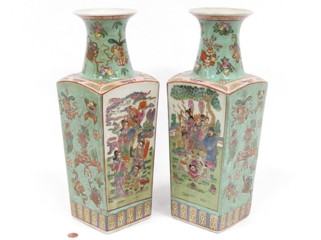 """PAIR CHINESE DECORATED PORCELAIN VASES. HEIGHT 15 1/2"""""""