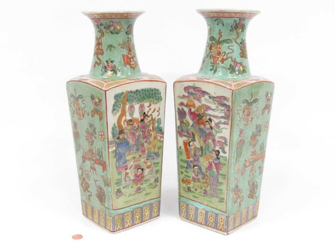 """PAIR CHINESE DECORATED PORCELAIN VASES. HEIGHT 15 1/2"""" - 2"""