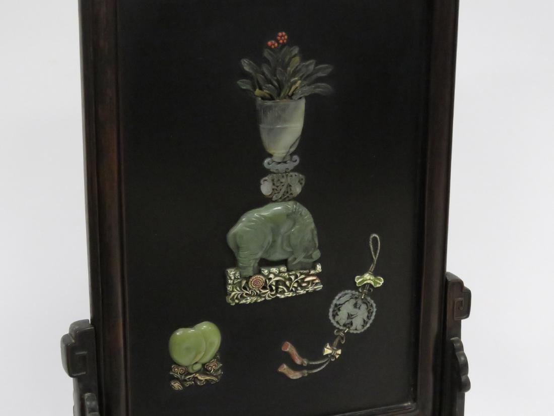 CHINESE LACQUER TABLE SCREEN WITH JADE AND HARDSTONE - 2