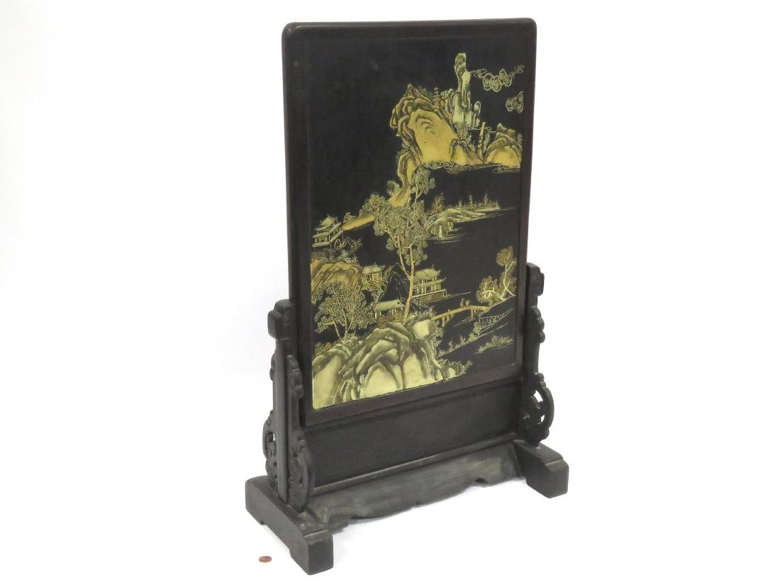 CHINESE LACQUER TABLE SCREEN WITH JADE AND HARDSTONE - 5