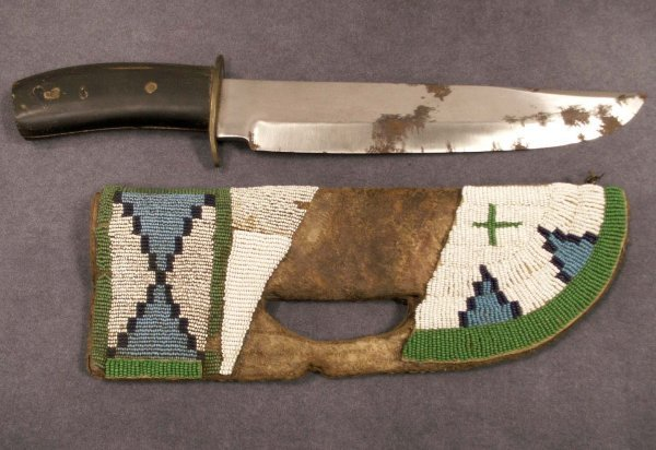 2174: BOWIE KNIFE WITH HORN HANDLE AND BEADED SHEATH