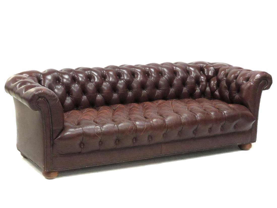 Chesterfield Deep Burgundy Leather Sofa Height 28