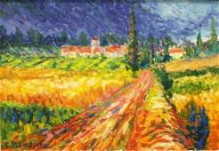 336: PAINTING, FRENCH COUNTRY LANDSCAPE, MENDJISKY