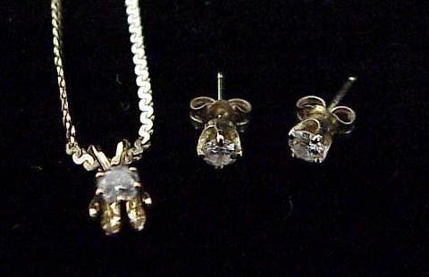 8: SET 14K YG DIAMOND NECKLACE/EARRINGS