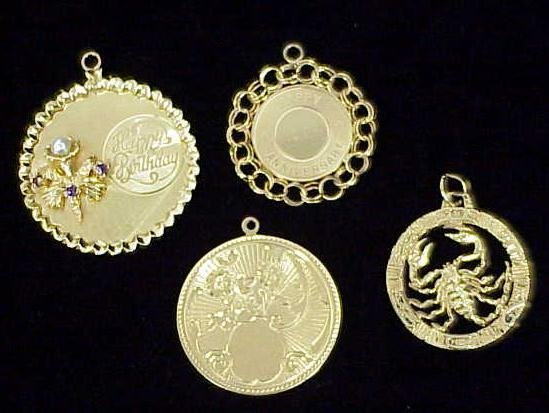 9: (4) 14K YELLOW GOLD CHARMS