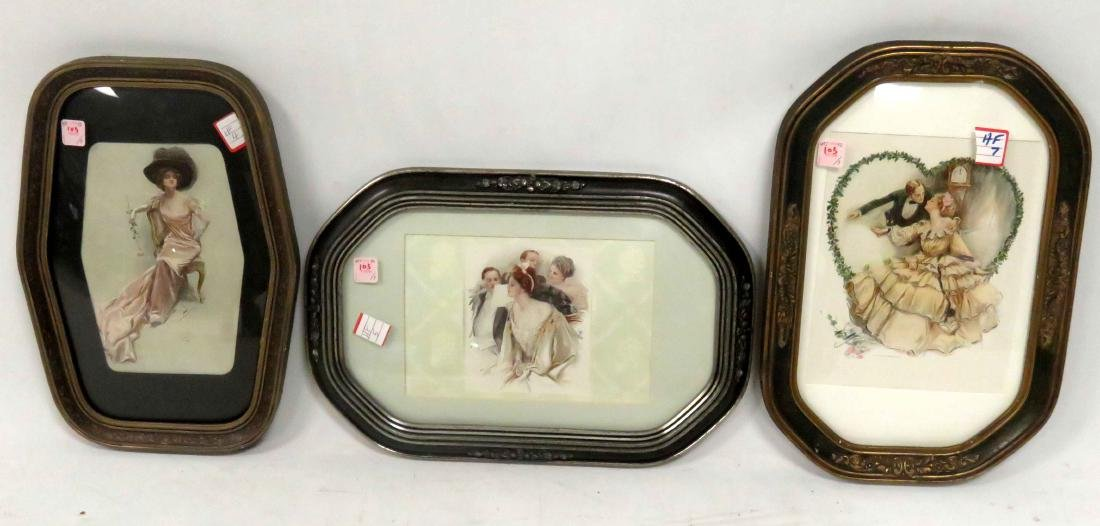 LOT (3) HARRISON FISHER PRINTS INCLUDING CONVEX GLASS