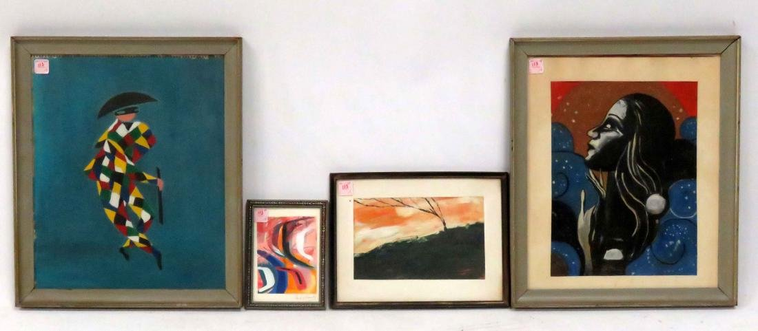 LOT (4) ASSORTED MODERNIST WORKS. VARIOUS SIZES