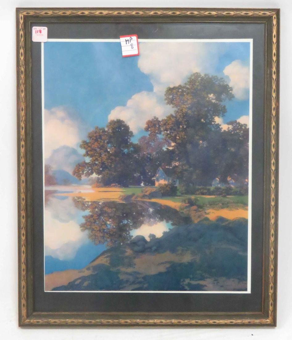 "MAXFIELD PARRISH PRINT, ""SHELFERING OAKS"", 1960. FRAMED"
