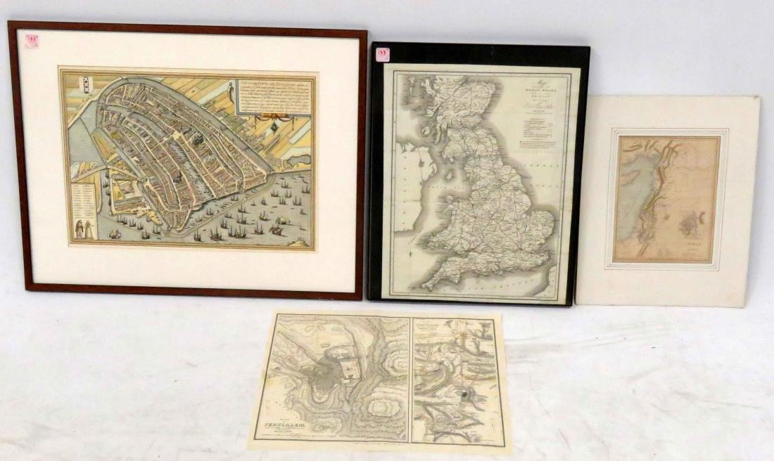 LOT (4) ENGRAVED MAPS INCLUDING ENVIRONS OF JERUSALEM,