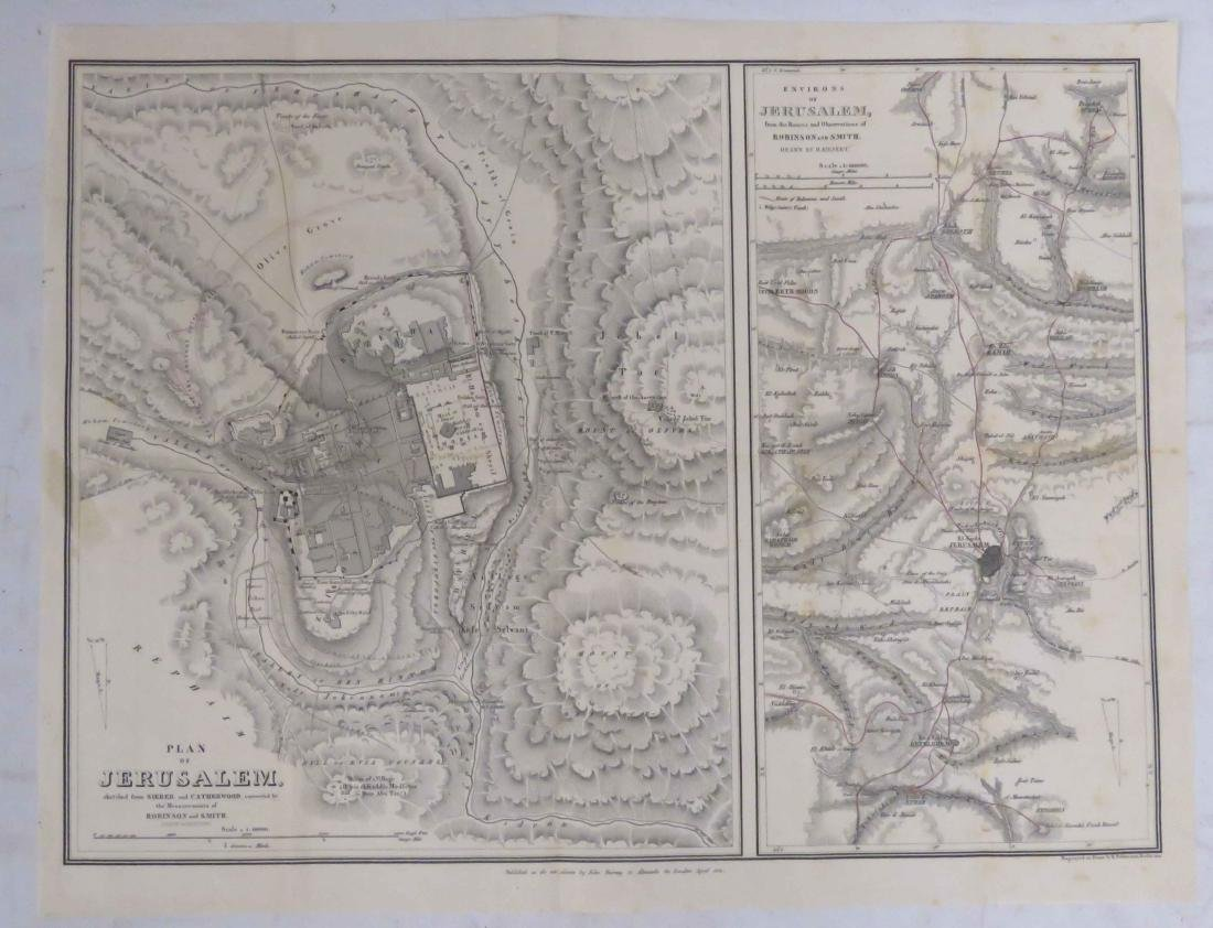 LOT (4) ENGRAVED MAPS INCLUDING ENVIRONS OF JERUSALEM, - 3