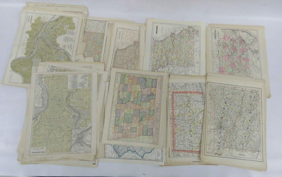 LARGE LOT ASSORTED US ATLAS MAP PAGES INCLUDING