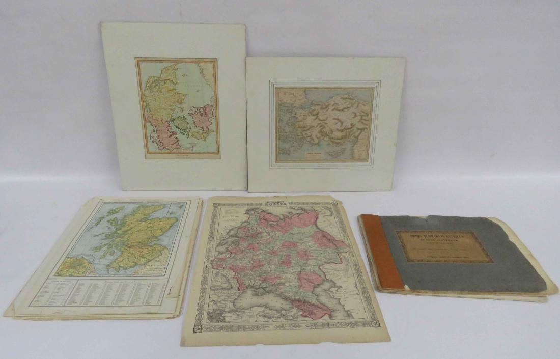 LARGE LOT ASSORTED EUROPEAN/WORLDWIDE ATLAS PAGES,