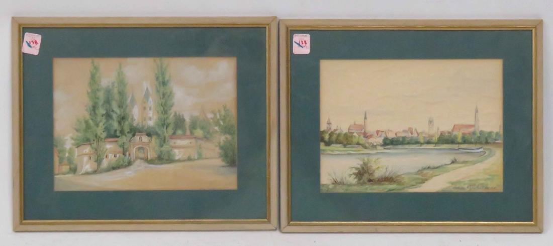 GERMAN SCHOOL (20TH CENTURY), LOT (2) WATERCOLOR AND