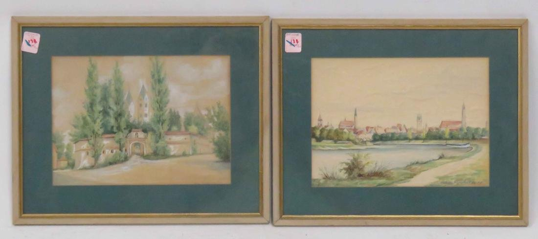 GERMAN SCHOOL (20TH CENTURY), LOT (2) WATERCOLOR AND