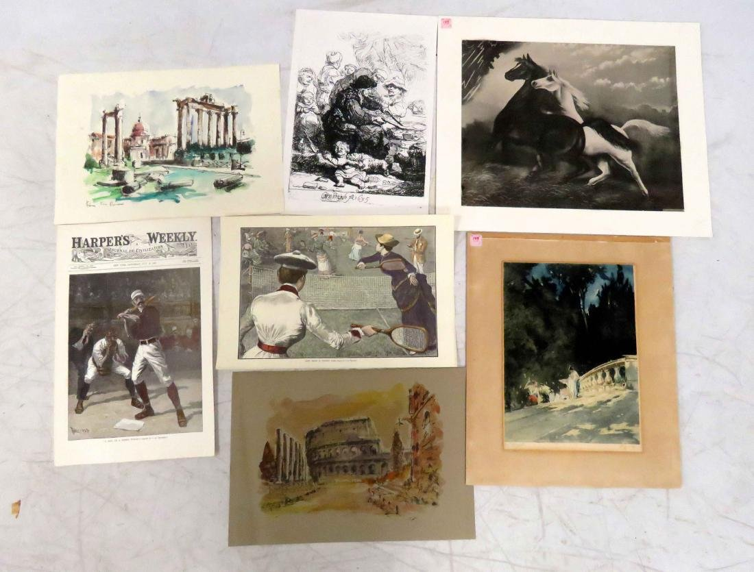 LOT (7) ASSORTED PRINTS INCLUDING HENRY LEROY (FRENCH