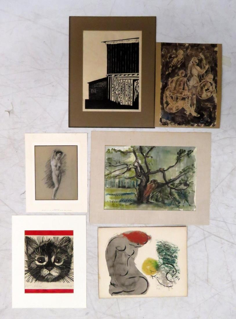 LOT ASSORTED MODERN WATERCOLORS, DRAWINGS, ETCHINGS,