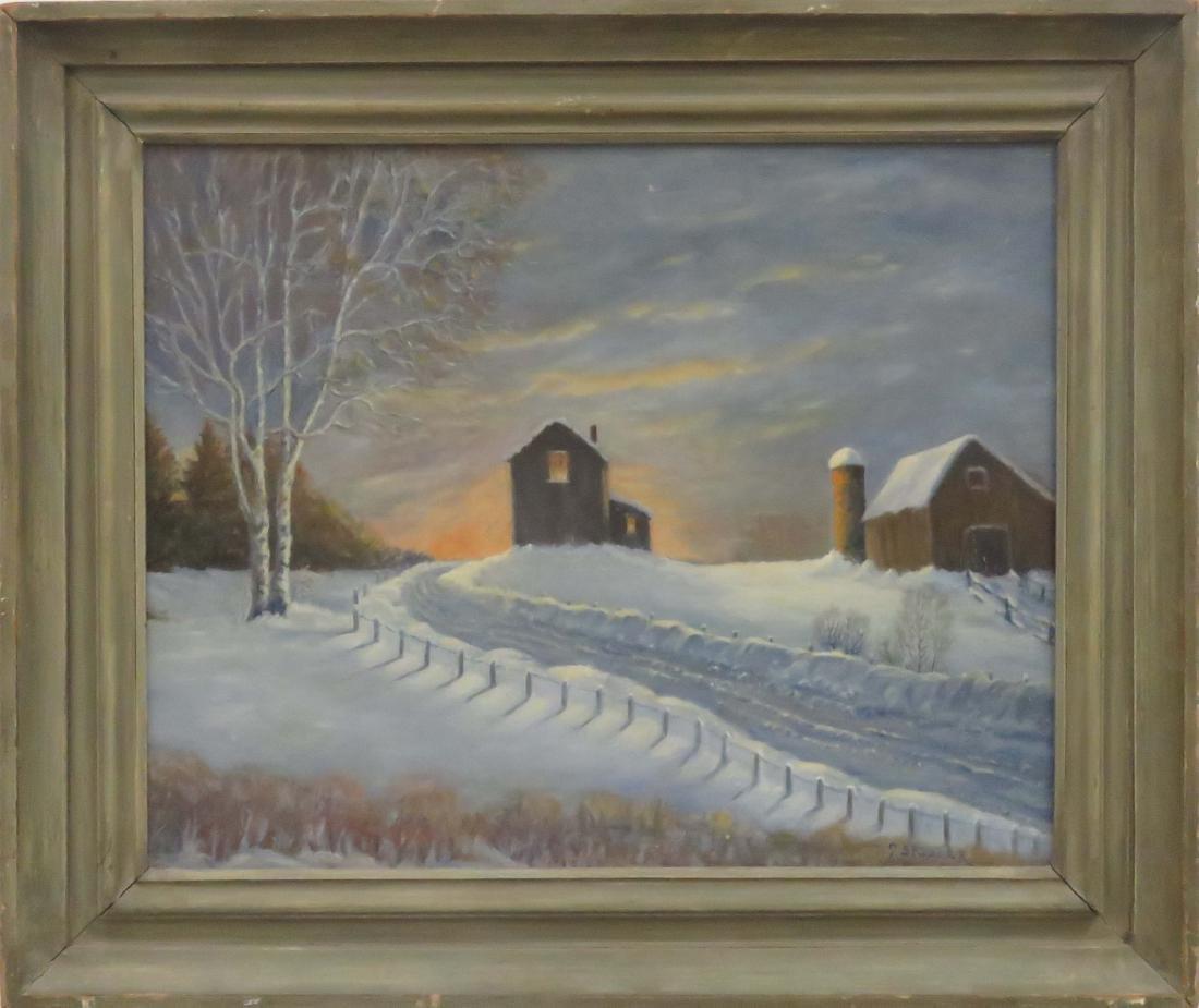 AMERICAN SCHOOL (20TH CENTURY), OIL ON PANEL, WINTER