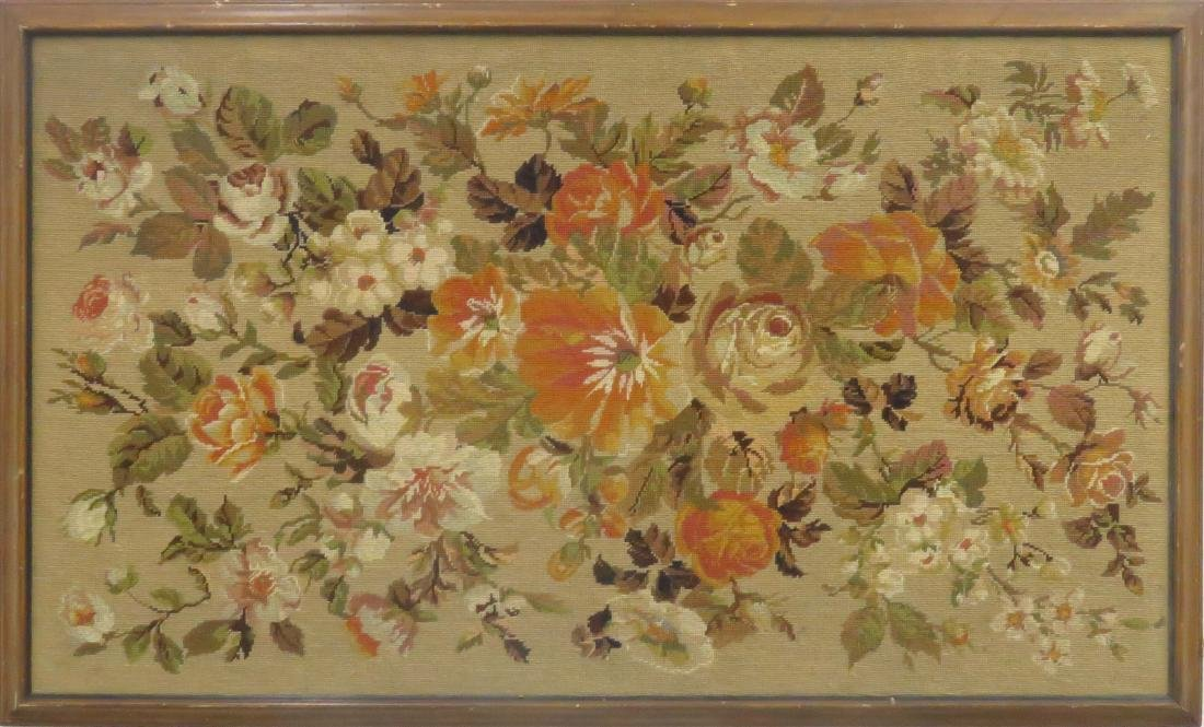 VINTAGE NEEDLEPOINT FLORAL PANEL. FRAMED 39 X 63""