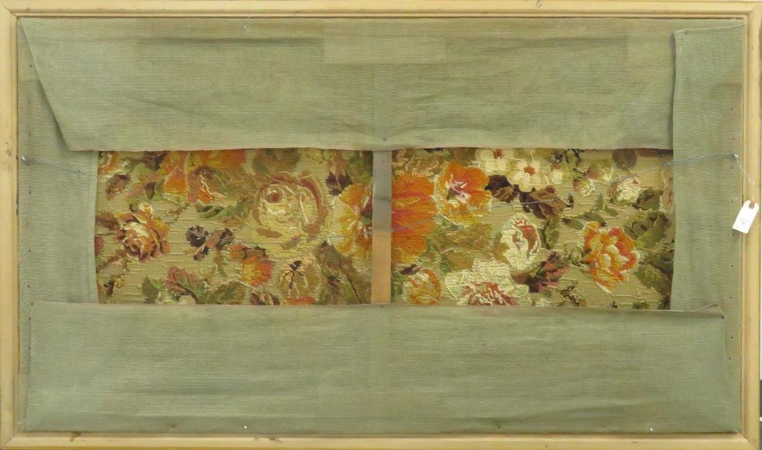 "VINTAGE NEEDLEPOINT FLORAL PANEL. FRAMED 39 X 63"" - 2"