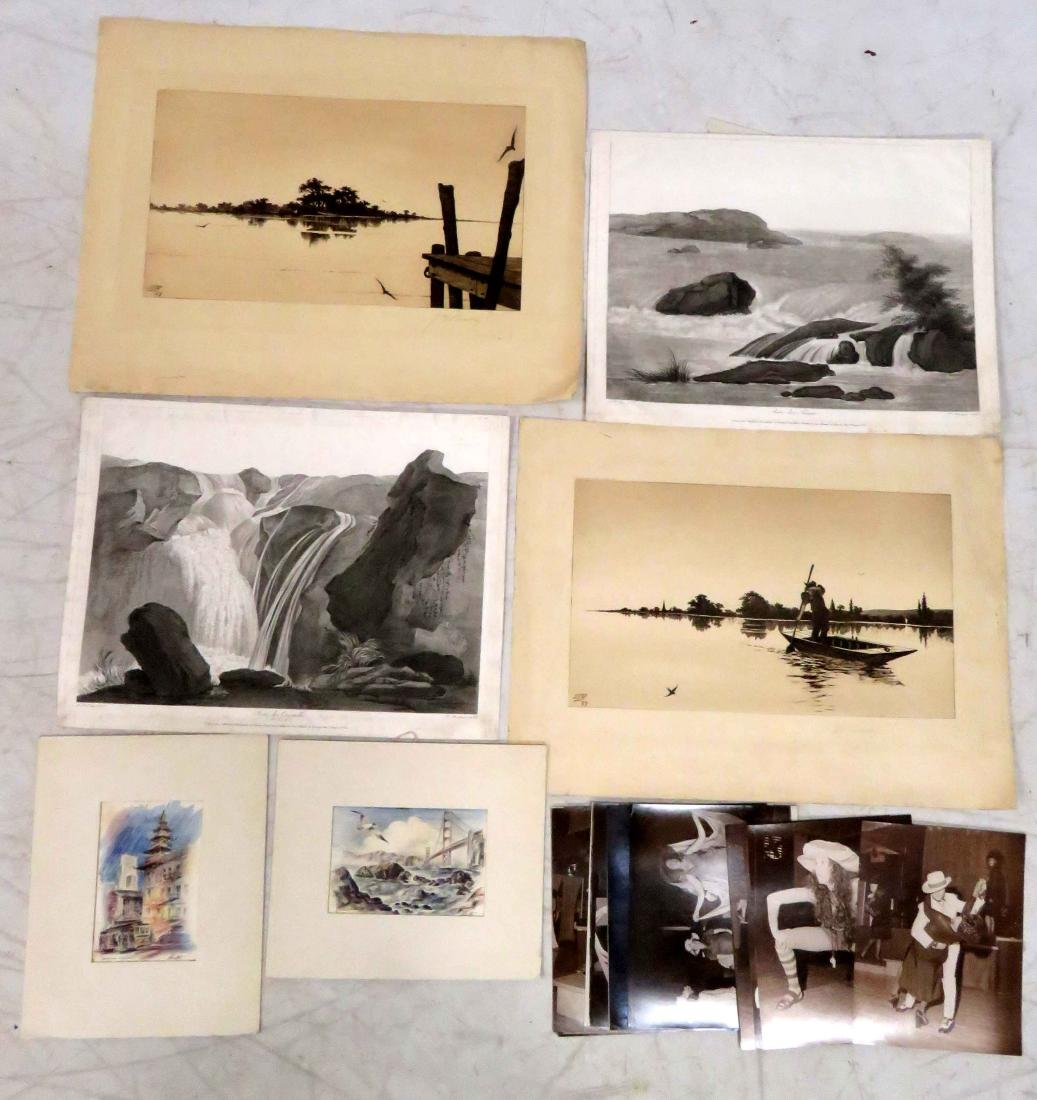 LOT ASSORTED WORKS ON PAPER INCLUDING PAIR FRENCH 18TH
