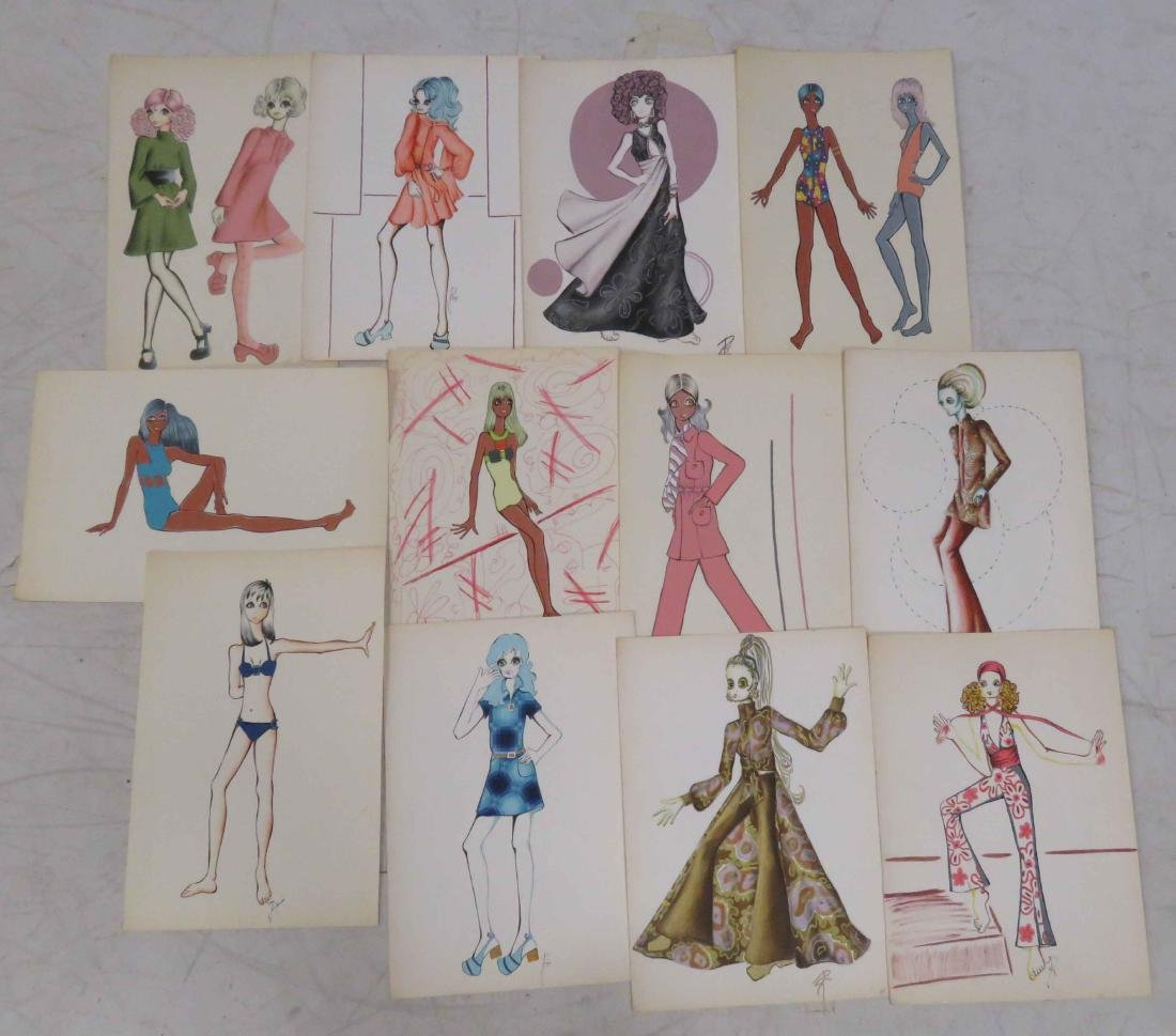 LOT (12) INK, WATERCOLOR AND GOUACHE ORIGINAL FASHION