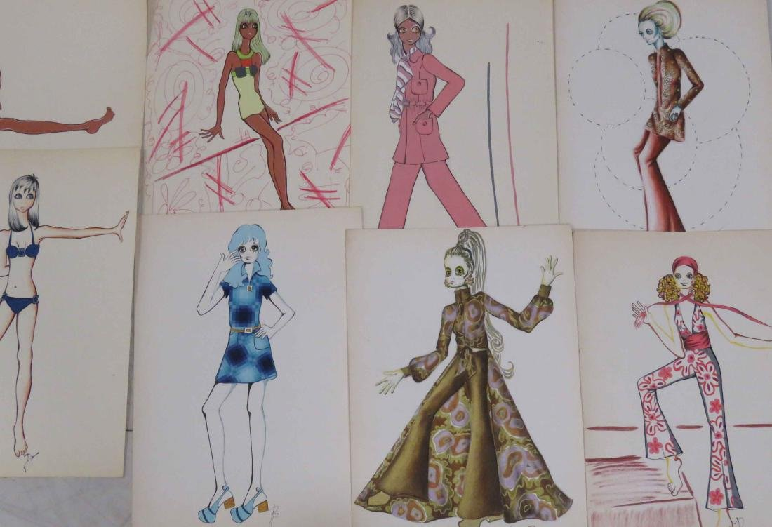 LOT (12) INK, WATERCOLOR AND GOUACHE ORIGINAL FASHION - 2