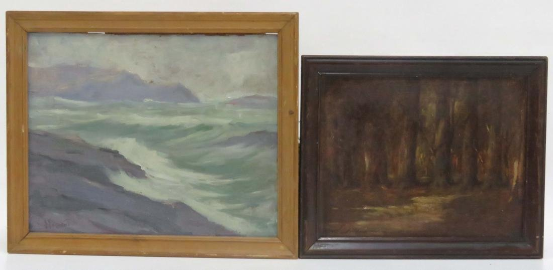 AMERICAN SCHOOL (20TH CENTURY), LOT (2) OIL ON CANVAS