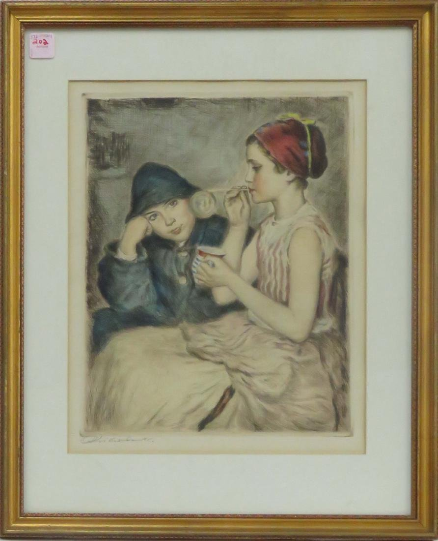 AMERICAN SCHOOL (20TH CENTURY), HAND COLORED ETCHING,