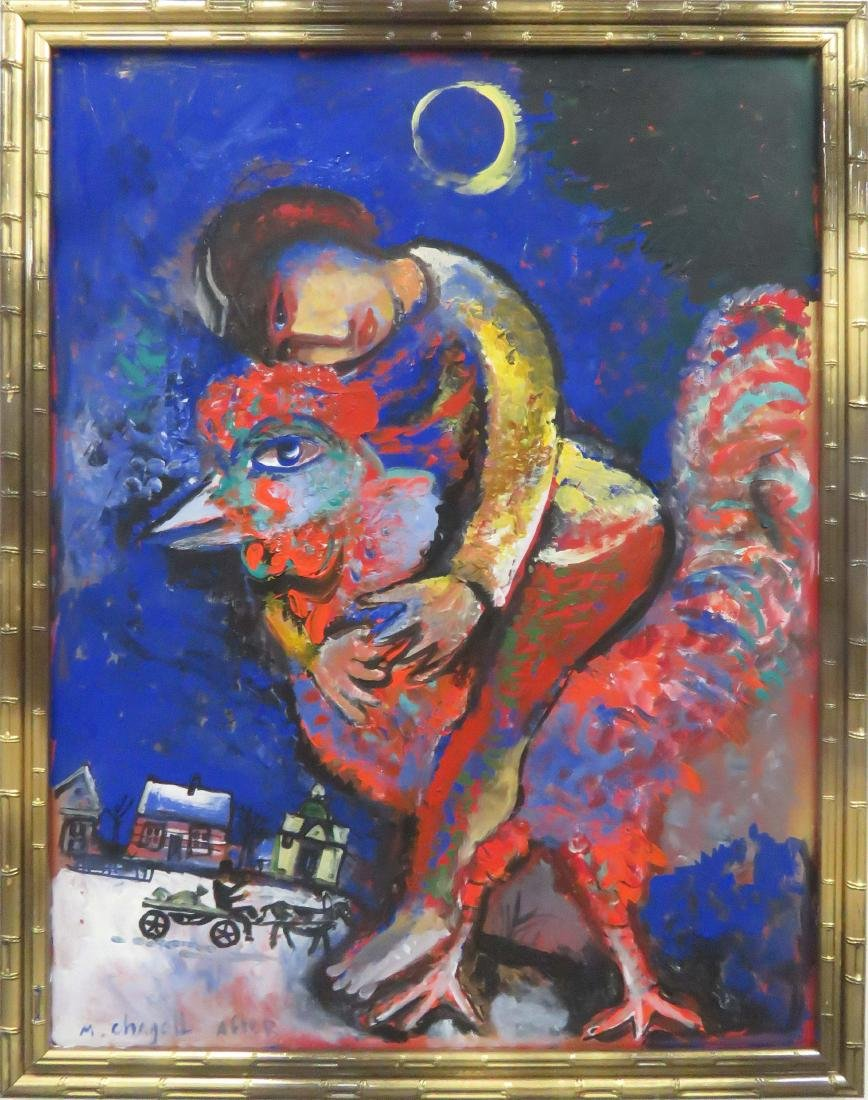 AFTER MARC CHAGALL, OIL ON ARTIST BOARD, UNTITLED,