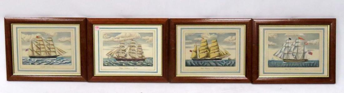 """SET (4) HAND COLORED ENGRAVINGS, """"SHIPS AT SEA"""","""