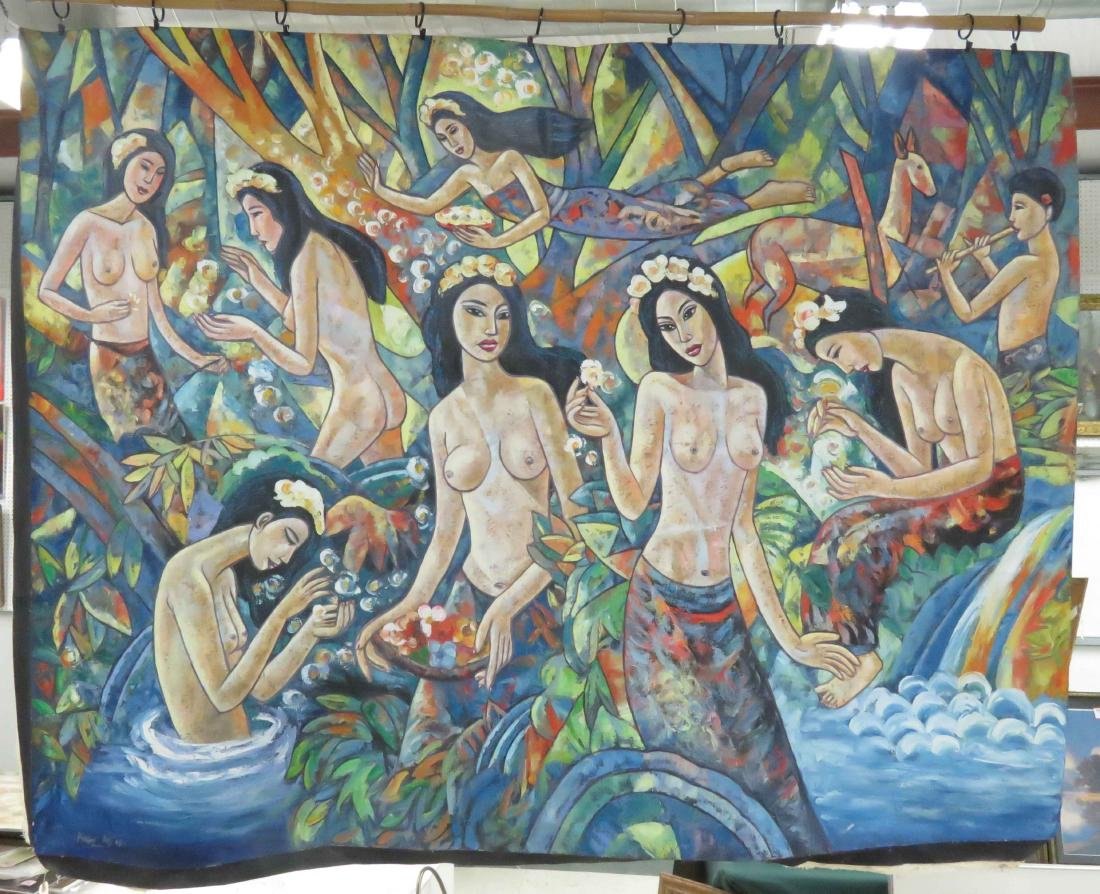 BALINESE SCHOOL (20TH CENTURY), OIL ON CANVAS, BATHERS,
