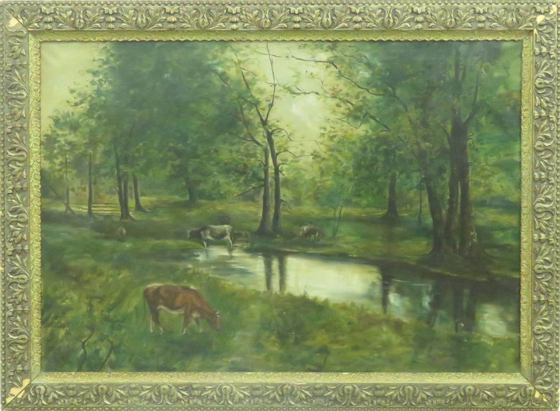 AMERICAN SCHOOL (19TH CENTURY), OIL ON CANVAS, COWS
