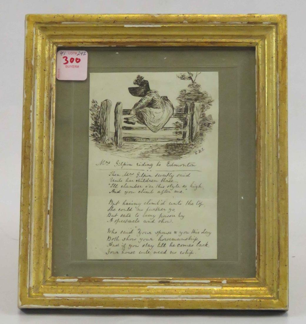 VICTORIAN PEN AND INK ILLUSTRATED POEM, SIGNED E.B.S.,