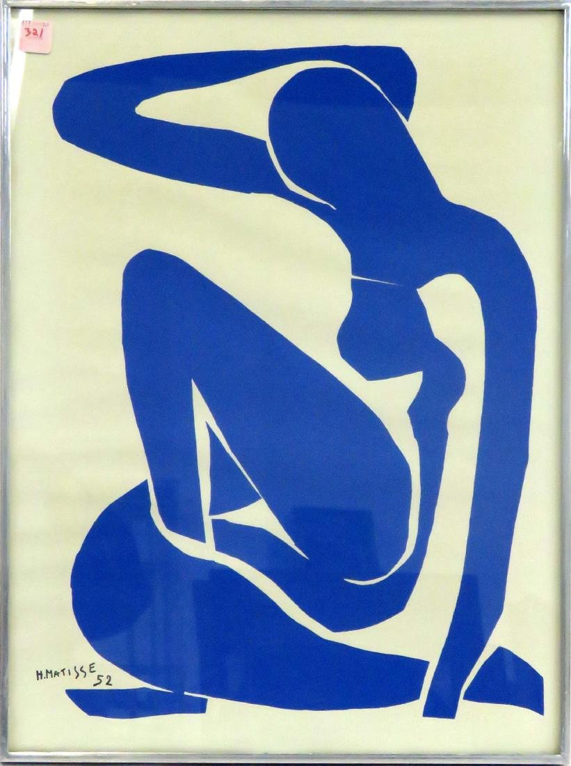 AFTER HENRI MATISSE, SERIGRAPH, BLUE NUDE, 1952. FRAMED
