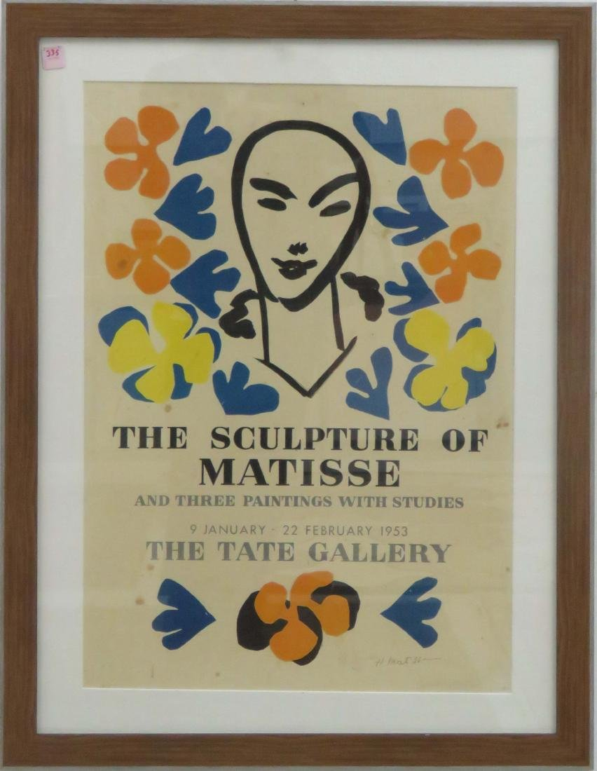 HENRI MATISSE LITHOGRAPHIC EXHIBITION POSTER, THE TATE