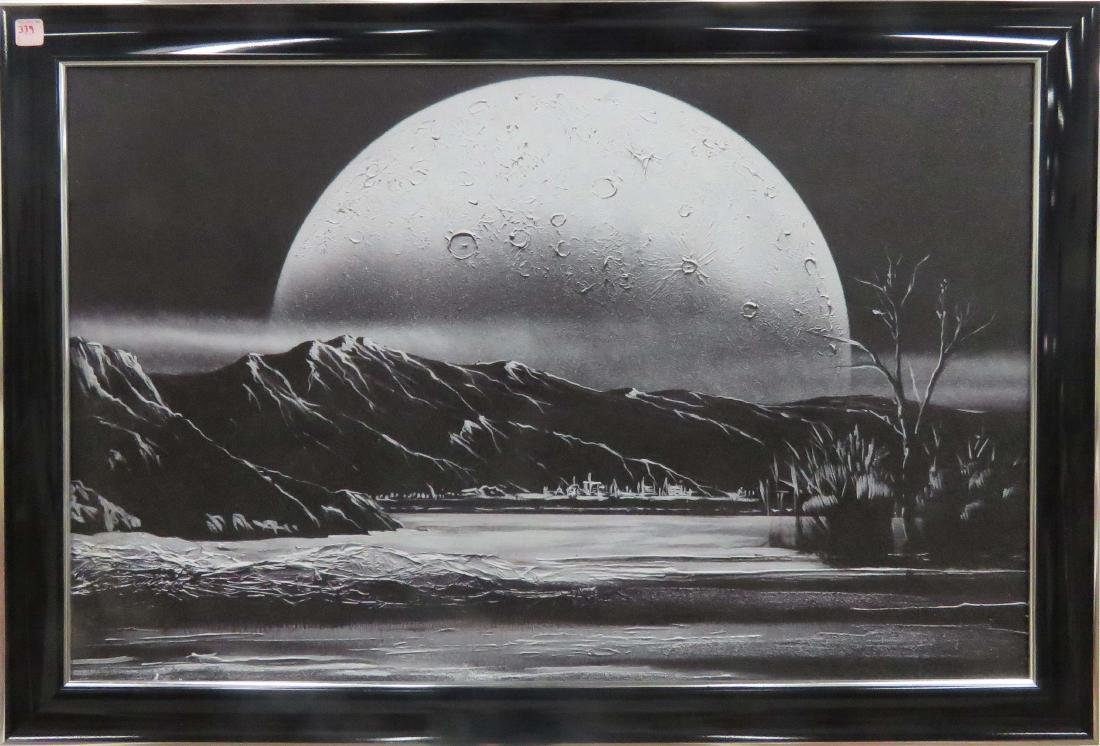 TEXTURED PRINT ON BOARD, ALIEN LANDSCAPE WITH MOON.