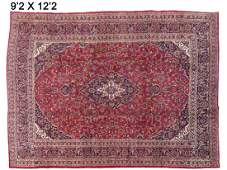"PERSIAN KASHAN CARPET. 9'2"" X 12'2"""