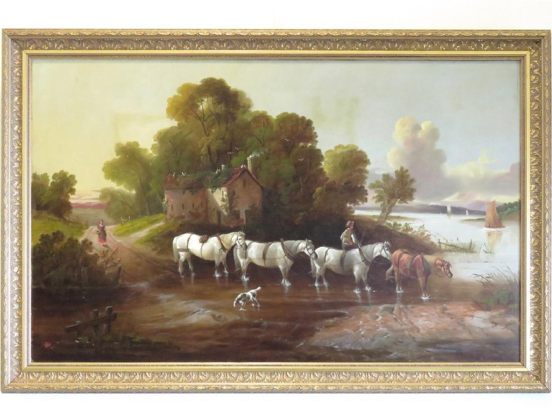 ENGLISH SCHOOL (19TH CENTURY), OIL ON CANVAS, HORSES