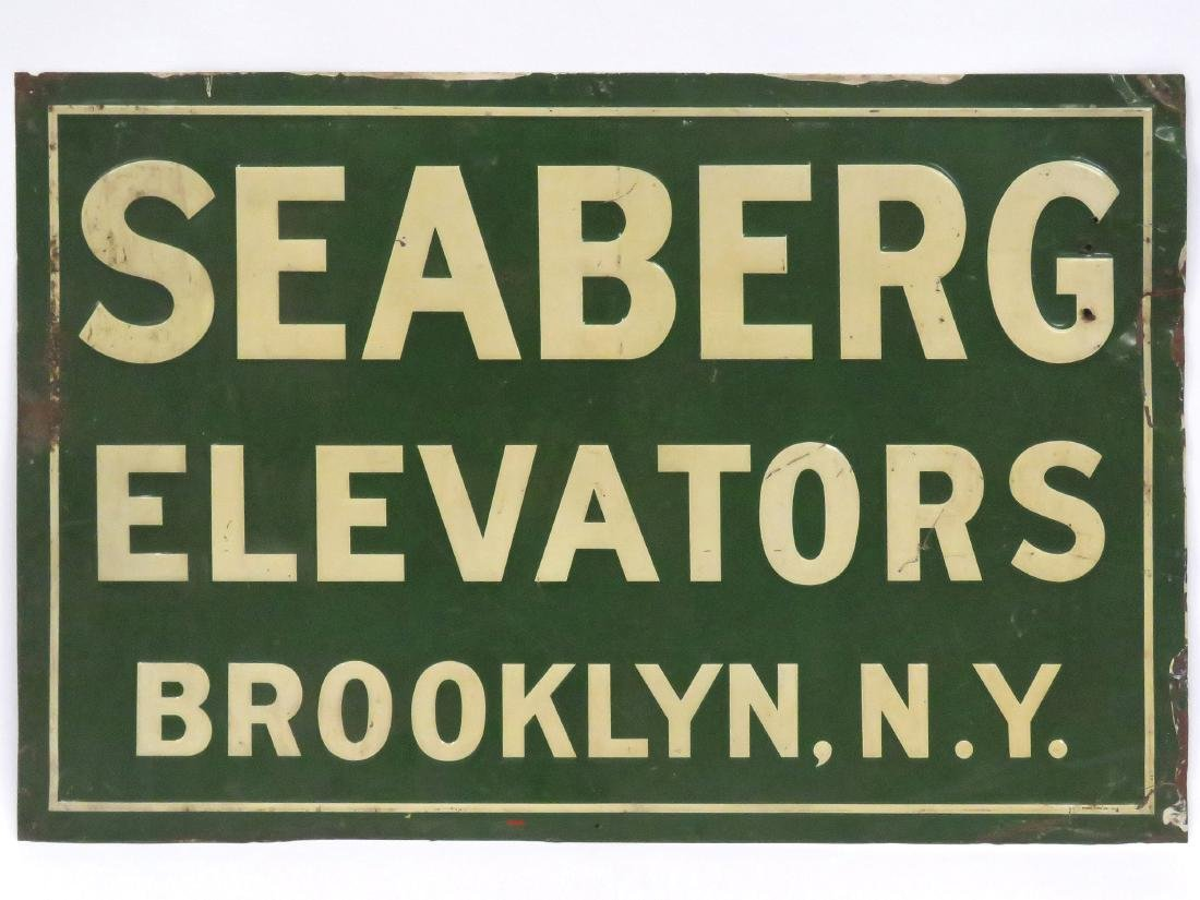 "VINTAGE STAMPED STEEL SIGN, ""SEABERG ELEVATORS"","