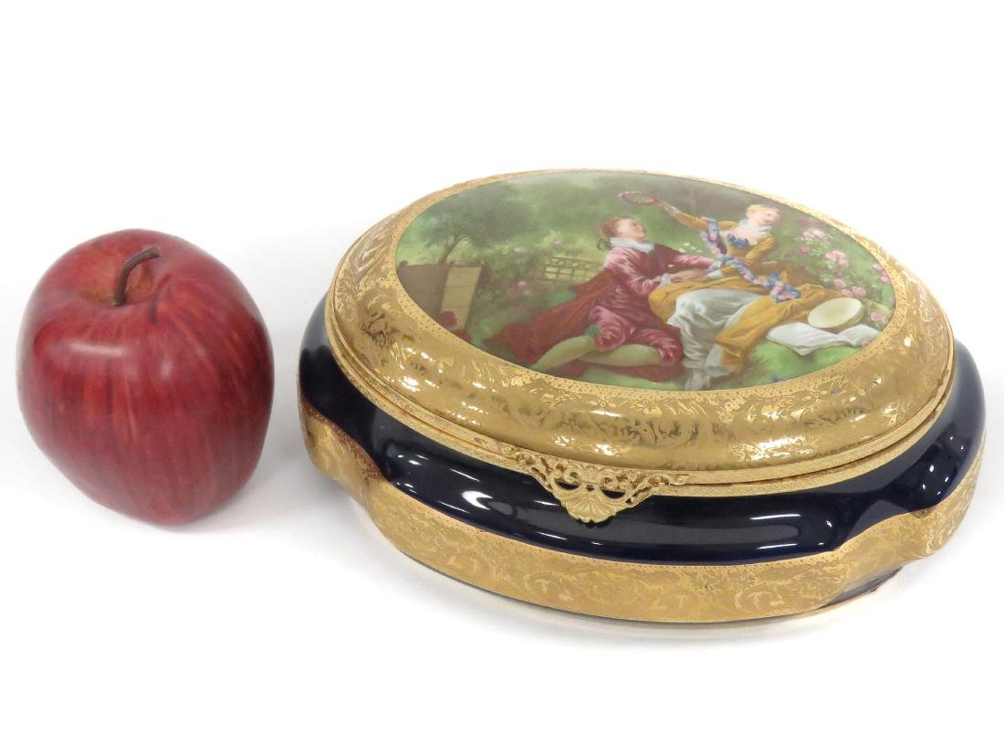 IMPERIAL LIMOGES COBALT AND GILT DECORATED DRESSER BOX