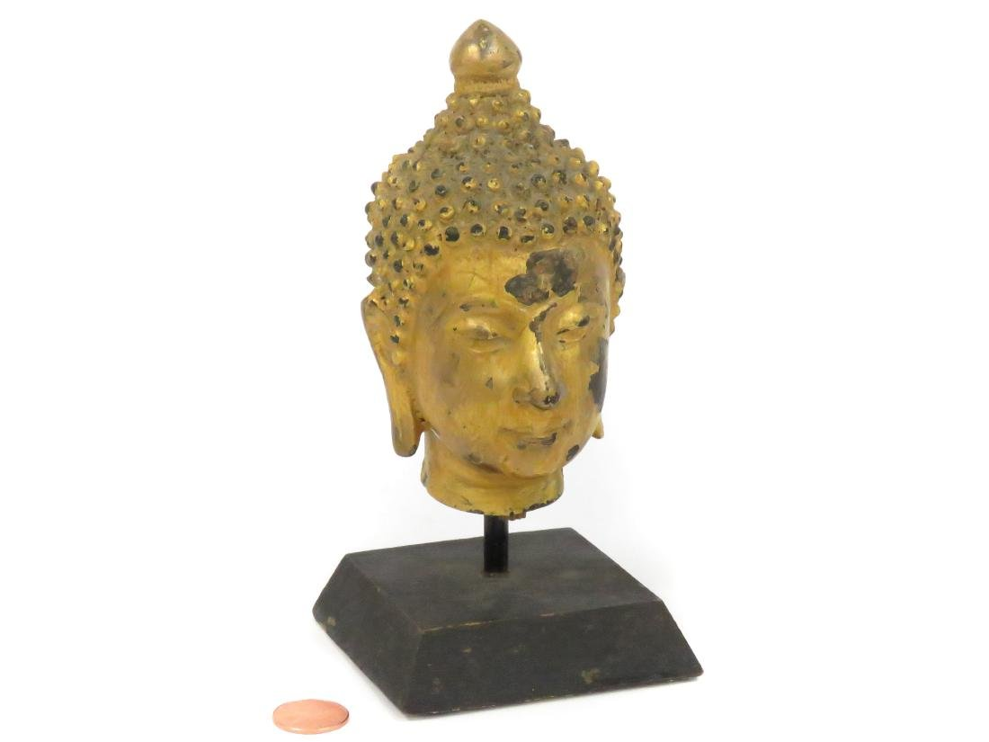 "THAI GILT BRONZE HEAD OF BUDDHA. HEIGHT 5"" WITH STAND"
