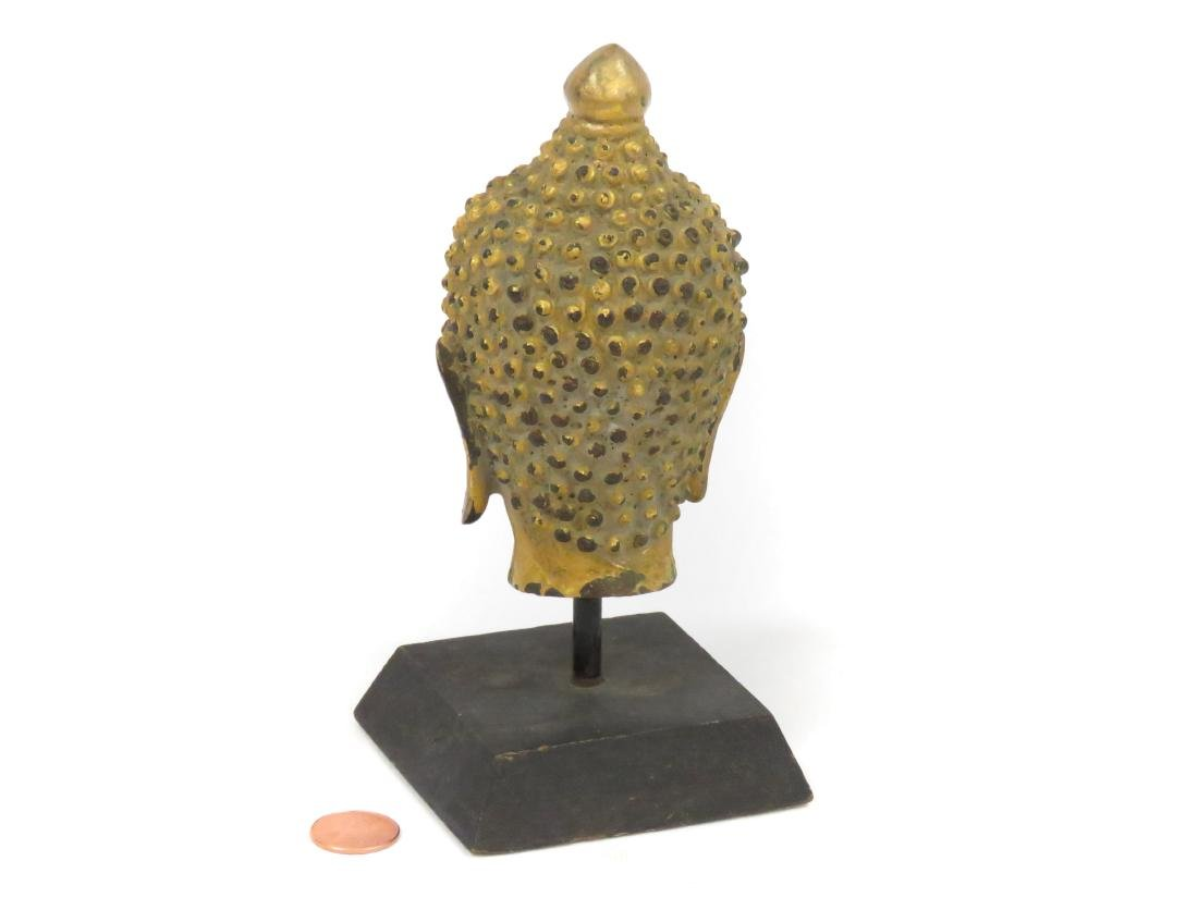"THAI GILT BRONZE HEAD OF BUDDHA. HEIGHT 5"" WITH STAND - 2"