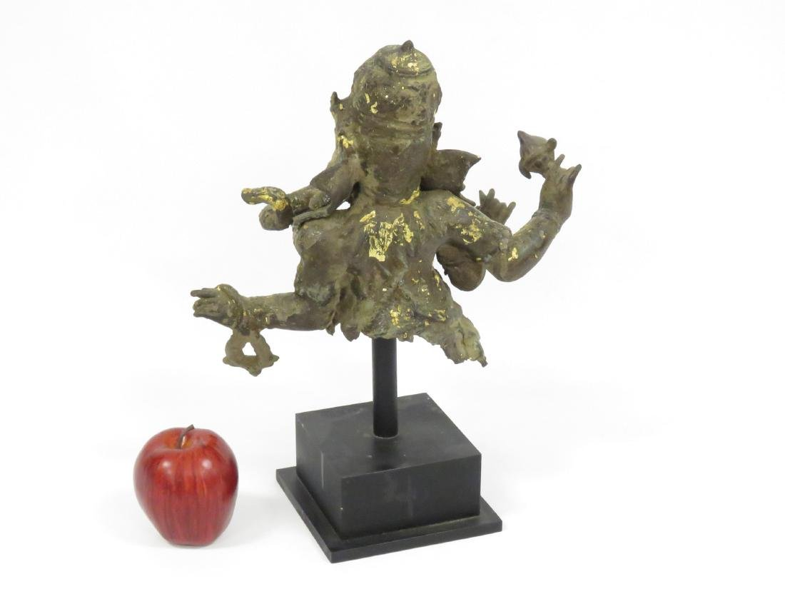 """INDIAN BRONZE GANESH FRAGMENT. HEIGHT 11"""" WITH STAND - 4"""