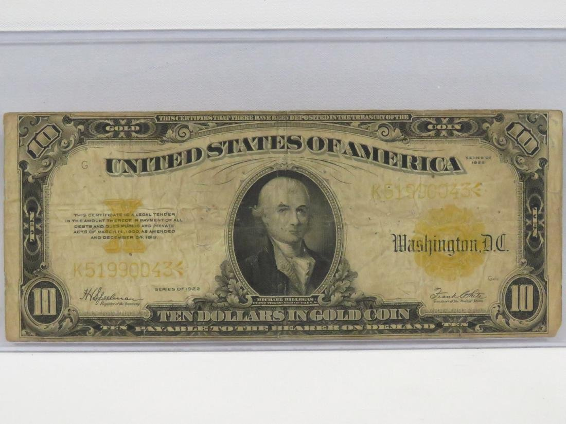 US SERIES 1922 $10.00 GOLD CERTIFICATE (LARGE), #1173