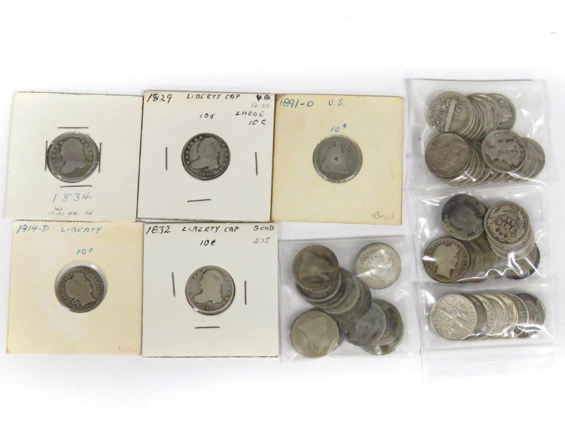 LOT (62) ASSORTED US SILVER DIME COINS INCLUDING (3)