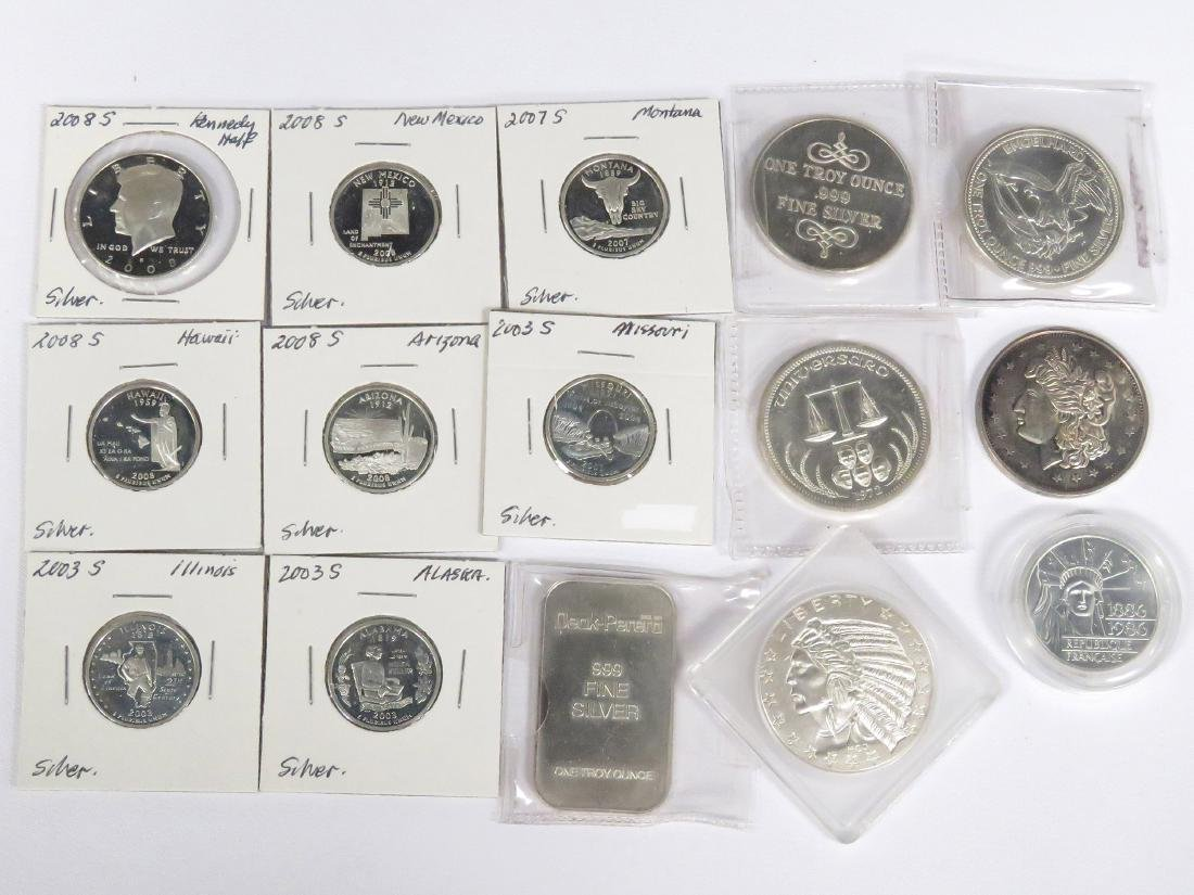 LOT (15) INCLUDING (6) 1 OZT SILVER COINS/INGOT, (1)