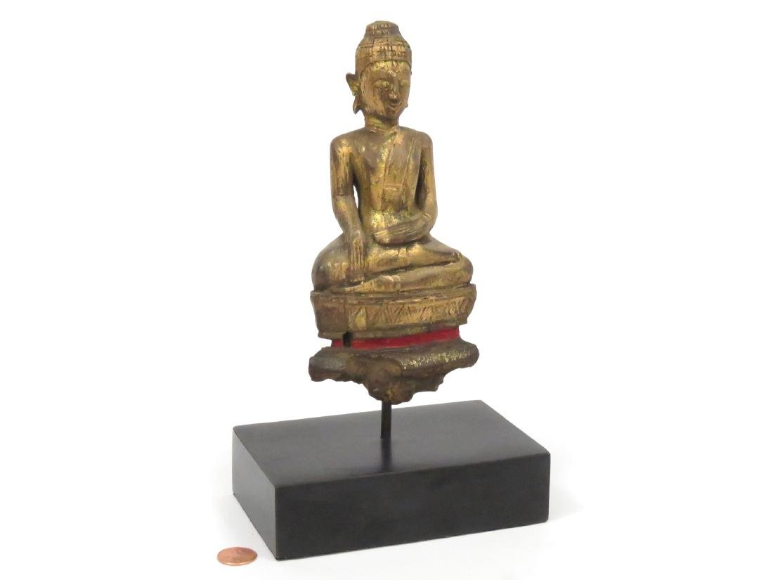 THAI CARVED AND GILT WOOD BUDDHA BHUMISPARSA MUDRA